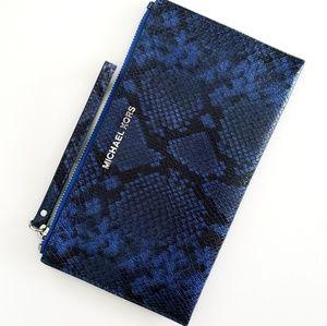 Michael Kors Blue Snakeskin Wristlet